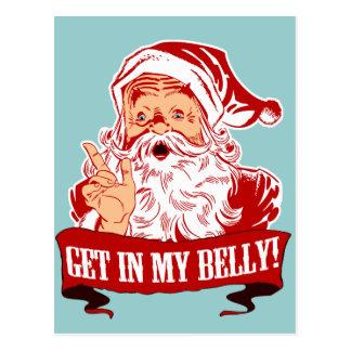 Carte Postale Obtenez dans mon Noël drôle de ventre