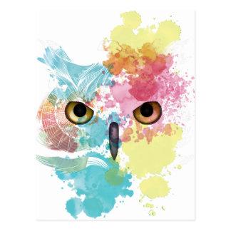 Carte Postale Oeil de hibou animal d'imaginaire de Wellcoda bel