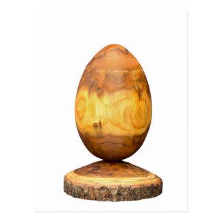 Carte Postale Oeuf en bois fait en arbre d'acacia avec l'écorce
