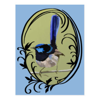 Carte Postale Oiseau bleu superbe d'Australien de roitelet