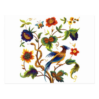 Carte Postale Oiseau de broderie Jacobean de paradis