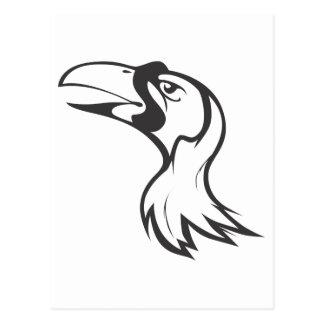 Carte Postale Oiseau du paradis sérieux en noir et blanc