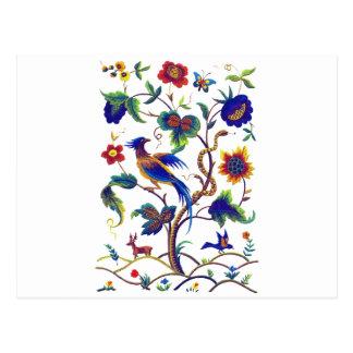 Carte Postale Oiseau Jacobean de Beautful de broderie de paradis