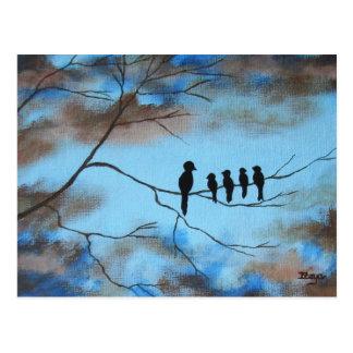 Carte Postale Oiseaux dans l'arbre dans l'art abstrait du jour