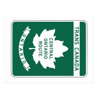 Carte Postale Ontario, signe de route du Transport-Canada