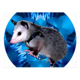 Carte Postale Opossum bleu de kaléidoscope