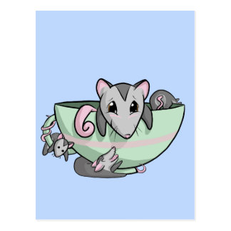 Carte Postale Opossum de tasse de thé !