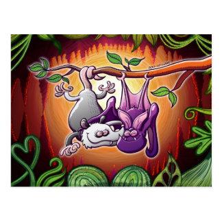 Carte Postale Opossum et batte dans l'amour