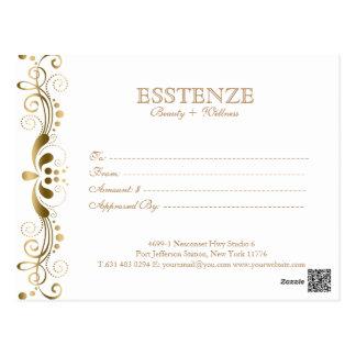 Carte Postale Or dessus et certificat-prime floral blanc de