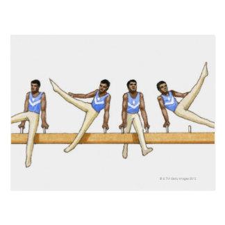 Carte Postale Ordre des illustrations montrant le gymnaste