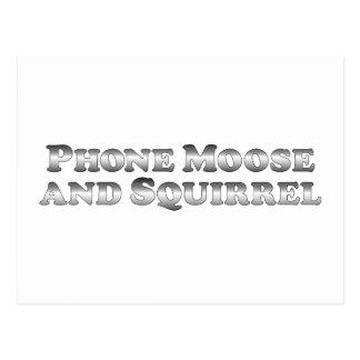 Carte Postale Orignaux et écureuil de téléphone - de base