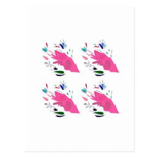 Carte Postale Ornements roses sur le blanc