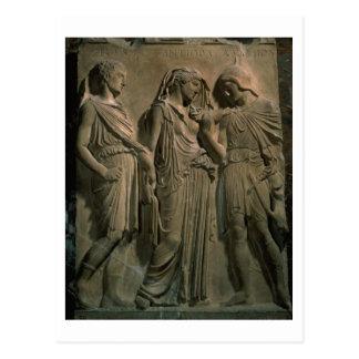 Carte Postale Orphée, Eurydice et Hermes (marbre)