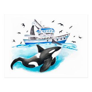 Carte Postale Orque et le bateau
