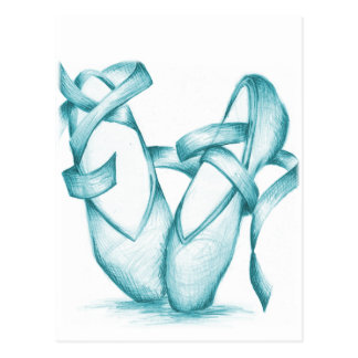 Carte Postale Orteil-Chaussures turquoises