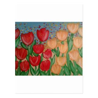Carte Postale Orteil de bout par les tulipes