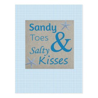 Carte Postale Orteils de Sandy et citation salée de la vie de