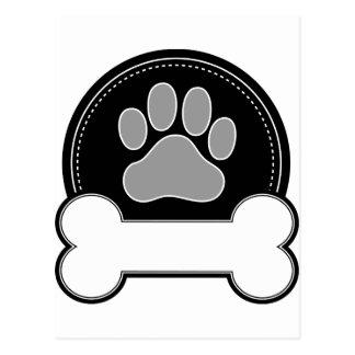 Carte Postale Os et patte de chien