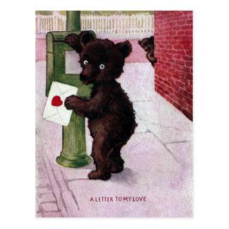 Carte Postale Ours de nounours envoyant la lettre d'amour