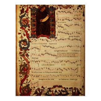 Carte Postale Page de notation musicale avec historiated