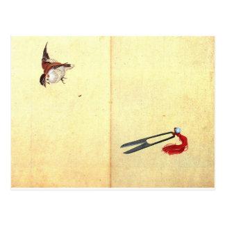 Carte Postale Paires des sissors et du moineau par Katsushika