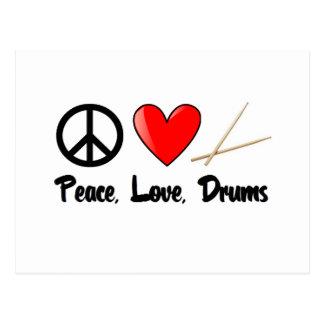 Carte Postale Paix, amour, et tambours
