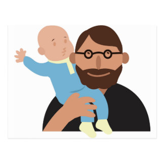 Carte Postale Papa avec le bébé