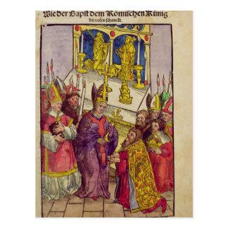 Carte Postale Pape Martin V donne à Sigismund le cadeau
