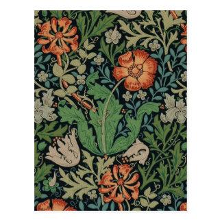 Carte Postale Papier peint floral vintage Morris à la mode