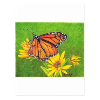 Carte Postale papillon de monarque sur des fleurs