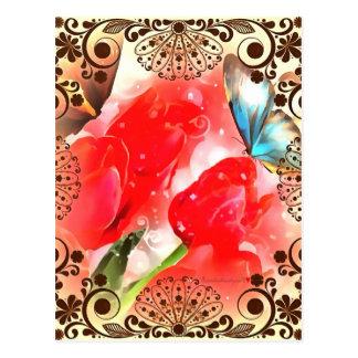 Carte Postale Papillon encadré floral