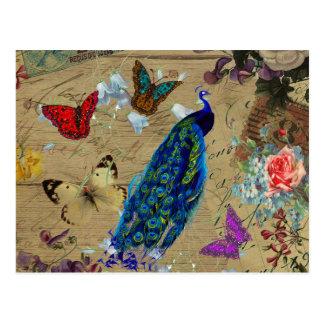 Carte Postale Papillon mignon de paon coloré bleu vintage