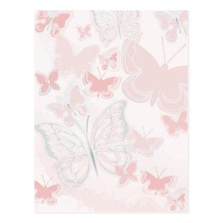 Carte Postale Papillons roses pilotant l'aquarelle de papillon