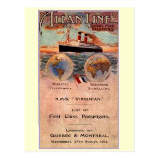 Carte Postale Paquebot de Virginian de RMS