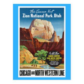 Carte Postale Parc national de Zion, voyage de l'Utah Amérique