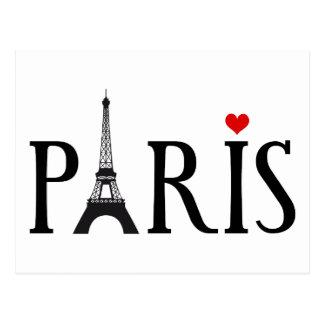 Carte Postale Paris avec Tour Eiffel et le coeur rouge