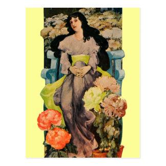 Carte Postale Parmi les chrysanthèmes