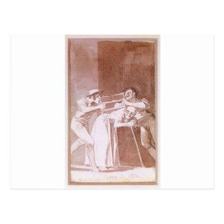 Carte Postale Partage de dame âgée par Francisco Goya