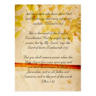 Carte Postale Passage de bible, fleurs grunges