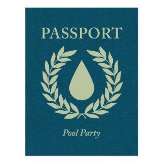 Carte Postale passeport de réception au bord de la piscine