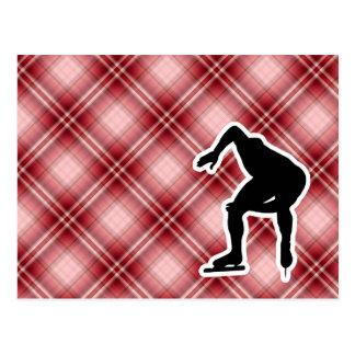 Carte Postale Patineur rouge de vitesse de plaid