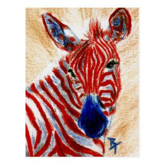 Carte postale patriotique de zèbre