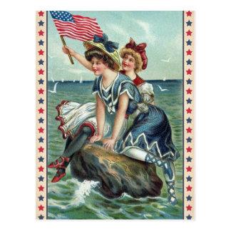 Carte postale patriotique vintage de femmes de