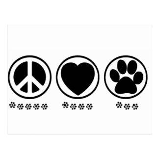 Carte Postale Patte d'amour de paix