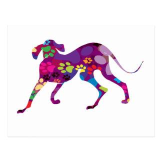 Carte Postale Pattes colorées de chien