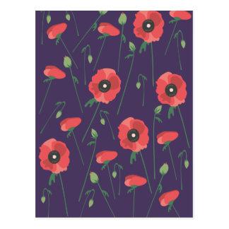 Carte Postale Pavots de floraison de printemps pourpres
