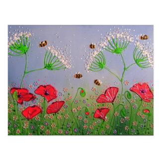 Carte Postale Pavots et abeilles
