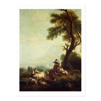 Carte Postale Paysage avec des paysans observant un troupeau de