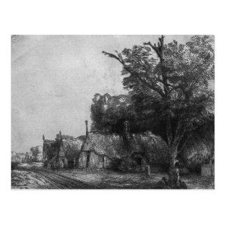 Carte Postale Paysage avec trois cottages, 1650
