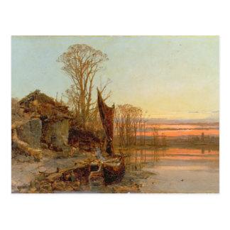 Carte Postale Paysage avec un cottage ruiné au coucher du